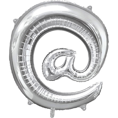 Silver At Symbol Air-Filled Foil Balloon 40cm / 16Inch