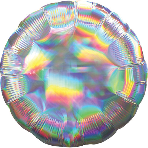 Silver Iridescent Round Foil Helium Balloon 46cm / 18Inch