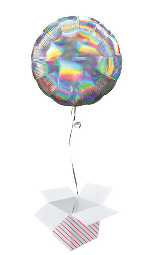 Silver Iridescent Round Foil Helium Balloon - Inflated Balloon in a Box