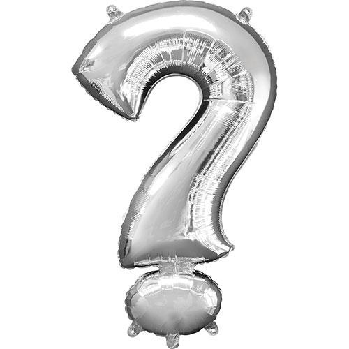 Silver Question Mark Symbol Air-Filled Foil Balloon 40cm / 16Inch