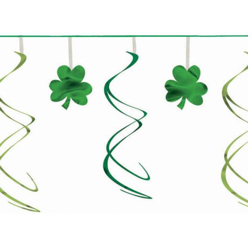 St Patricks Day Shamrock Swirl Garland Hanging Decoration 3.6m