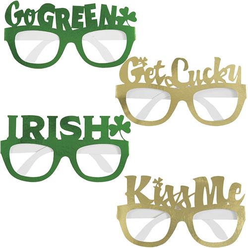 St. Patrick's Day Assorted Foil Cardboard Novelty Glasses - Pack of 4