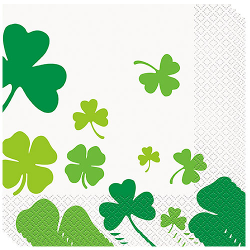 St. Patrick's Day Shamrock Luncheon Napkins 33cm 2Ply - Pack of 16