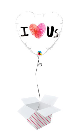 Thumbprint I Heart Us Valentines Day Foil Helium Qualatex Balloon - Inflated Balloon in a Box