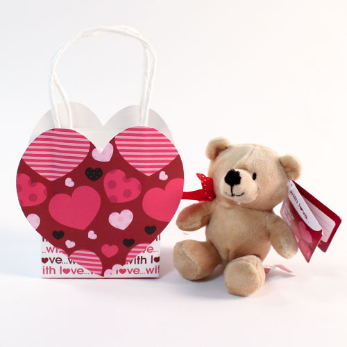 Valentines Soft Cuddly Toy Bear In Gift Bag 14cm Product Gallery Image