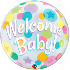 Welcome Baby Colourful Dots Baby Shower Bubble Helium Qualatex Balloon 56cm / 22Inch