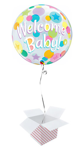 Welcome Baby Colourful Dots Baby Shower Bubble Helium Qualatex Balloon - Inflated Balloon in a Box Product Image