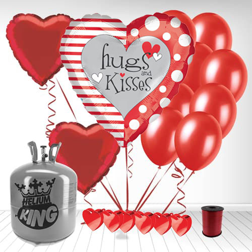 Hugs-And-Kisses-Valentine's-Day-Small-Helium-Gas-Package-With-Balloons