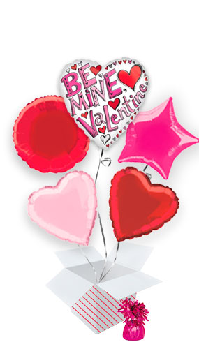 Be Mine Valentine Balloon Bouquet - 5 Inflated Balloons In A Box Product Image