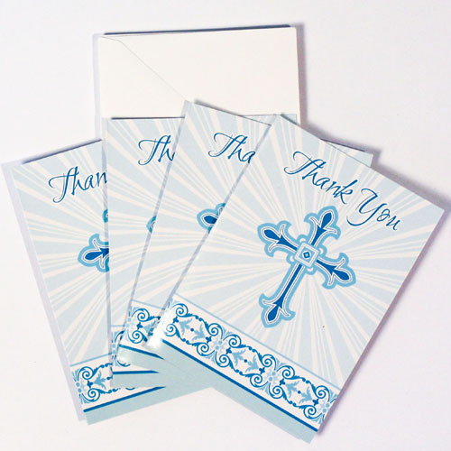 Blue Radiant Cross Communion And Confirmation Thank You Cards With Envelopes - Pack of 8