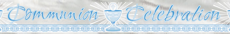 Blue Radiant Cross Communion Celebration Foil Banner 3.65m