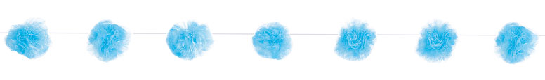 Blue Tulle Pom Pom Garland Hanging Decoration 213cm