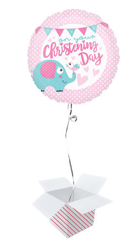 Christening Day Pink Round Foil Helium Balloon - Inflated Balloon in a Box