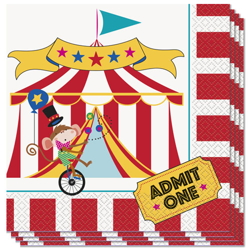 Circus Carnival Luncheon Napkins 33cm 2Ply - Pack of 16