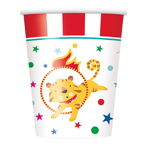 Circus Carnival Paper Cups 270ml - Pack of 8