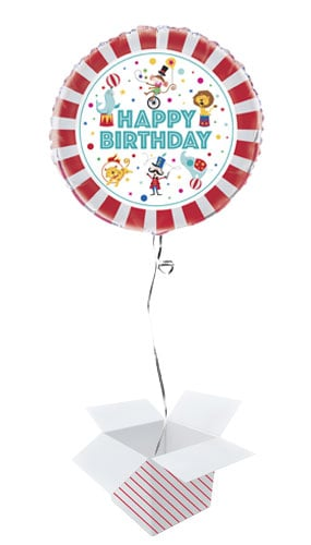 Circus Carnival Happy Birthday Round Foil Helium Balloon Inflated In A Box