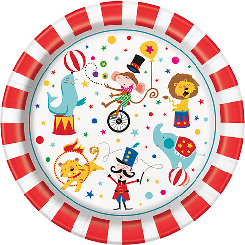 Circus Carnival Round Paper Plates 22cm - Pack of 8