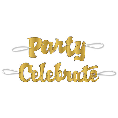 Gold Script Celebrate And Party Foil Cardboard Letter Banners - Pack of 2 Product Image