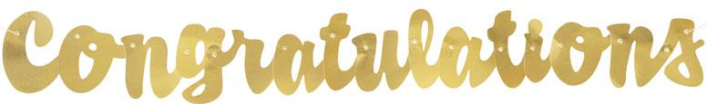 Gold Script Congratulations Foil Cardboard Letter Banner 106cm