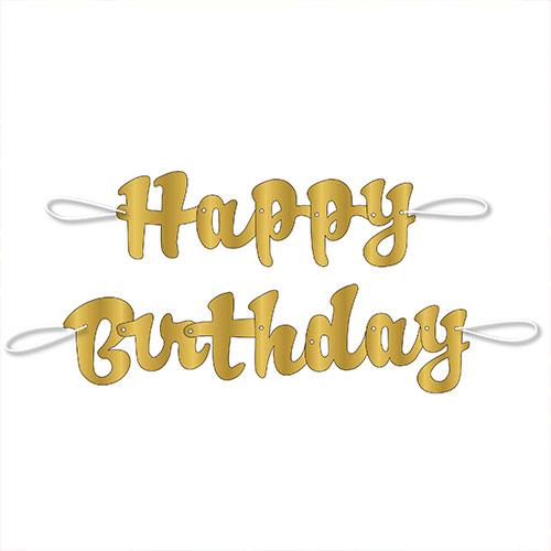 Gold Script Happy Birthday Foil Cardboard Letter Banner 106cm