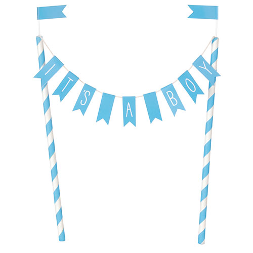 It's A Boy Baby Shower Blue Bunting Cake Topper 21cm