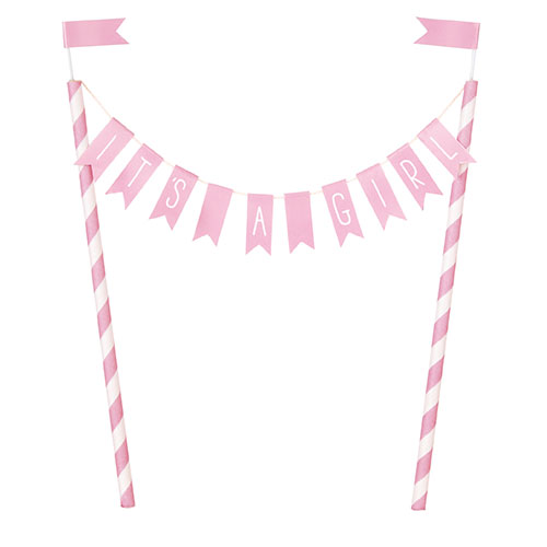 It's A Girl Baby Shower Pink Bunting Cake Topper 21cm