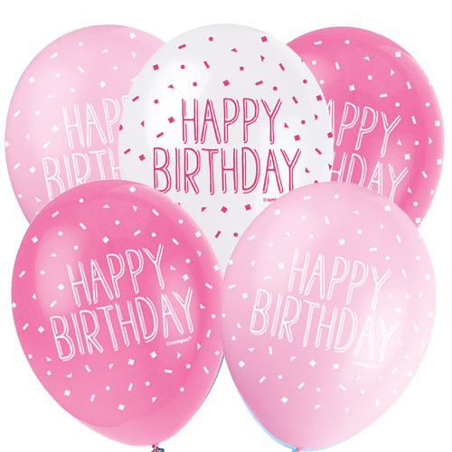 Pink Happy Birthday Assorted Biodegradable Latex Balloons 30cm / 12Inch - Pack of 5