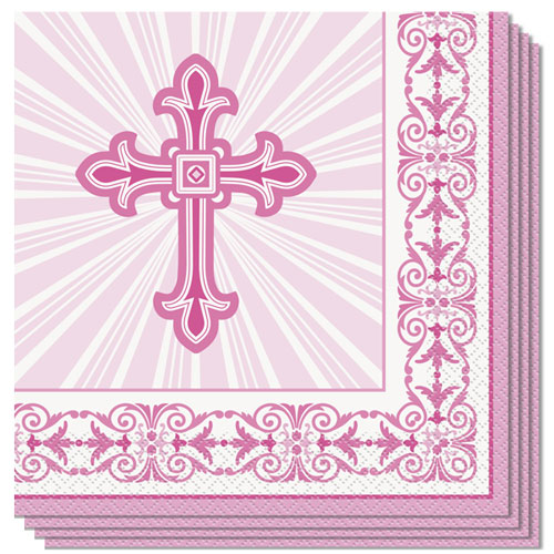 Pink Radiant Cross Communion And Confirmation Luncheon Napkins 33cm 2Ply - Pack of 16