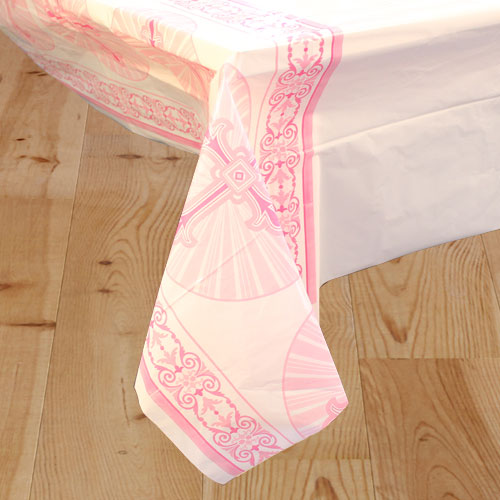 Pink Radiant Cross Communion And Confirmation Plastic Tablecover 213cm x 137cm