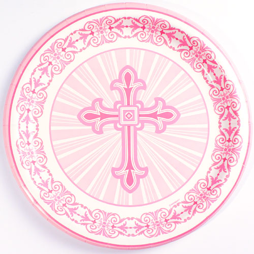 Pink Radiant Cross Communion And Confirmation Round Paper Plate 22cm