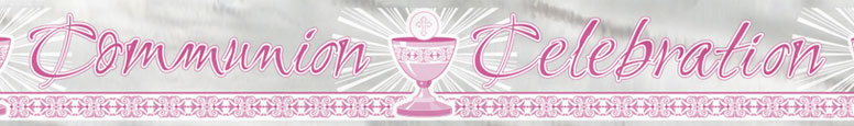 Pink Radiant Cross Communion Celebration Foil Banner 3.65m