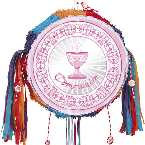 Pink Radiant Cross Communion Pull String Pinata Product Image
