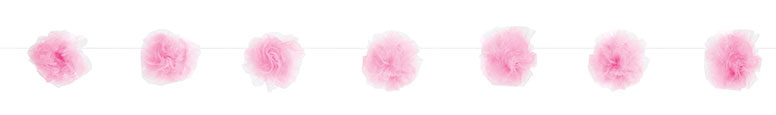 Pink Tulle Pom Pom Garland Hanging Decoration 213cm