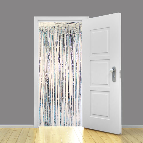 Silver Metallic Shimmer Curtain 95cm x 200cm - Pack of 5