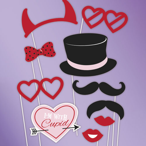 Valentine Photo Prop Accessories - Pack of 10