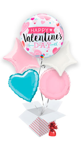 Valentine's Arrows And Hearts Bubble Valentine's Day Balloon Bouquet - 5 Inflated Balloons In A Box Product Image