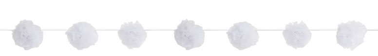 White Tulle Pom Pom Garland Hanging Decoration 213cm Product Image
