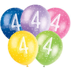 Age 4 Biodegradable Assorted Latex Balloons 30cm 12Inch Pack
