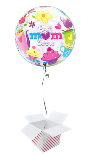 Best Mum Ever Bubble Helium Qualatex Balloon - Inflated Balloon in a Box