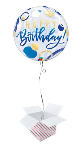Birthday Blue And Gold Dots Bubble Helium Qualatex Balloon - Inflated Balloon in a Box