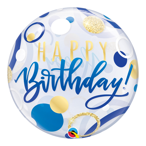 Birthday Blue And Gold Dots Bubble Helium Qualatex Balloon 56cm / 22 Inch