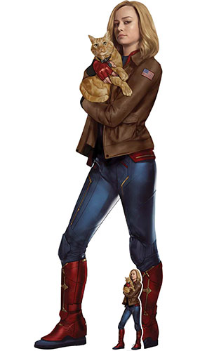 Captain Marvel Carol Danvers Brie Larson With Goose The Cat Lifesize Cardboard Cutout 174cm Product Gallery Image