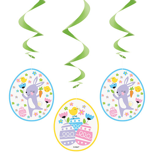 Colourful Easter Swirl Hanging Decorations 66cm - Pack of 3