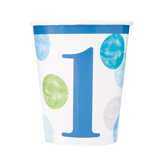 First Birthday Boy Blue Dots Paper Cups 270ml - Pack of 8