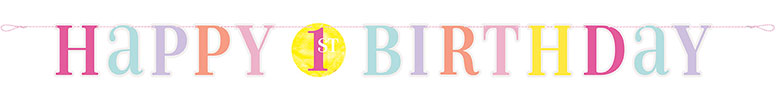 First Birthday Girl Pink Dots Cardboard Letter Banner 182cm
