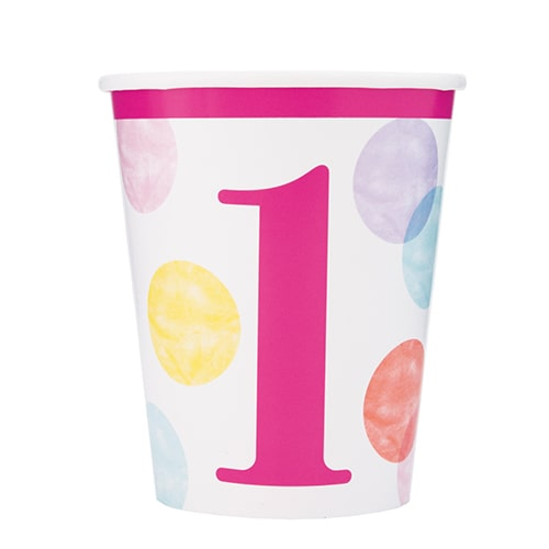 First Birthday Girl Pink Dots Paper Cups 270ml - Pack of 8