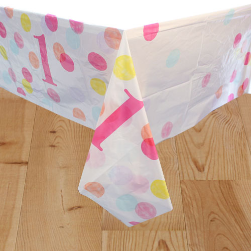 First Birthday Girl Pink Dots Plastic Tablecover 213cm x 137cm