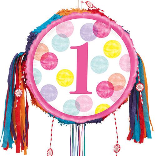 First Birthday Girl Pink Dots Pull String Pinata