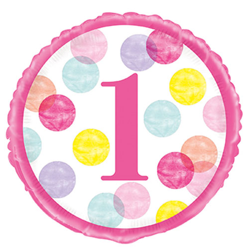First Birthday Girl Pink Dots Round Foil Helium Balloon 46cm / 18 Inch