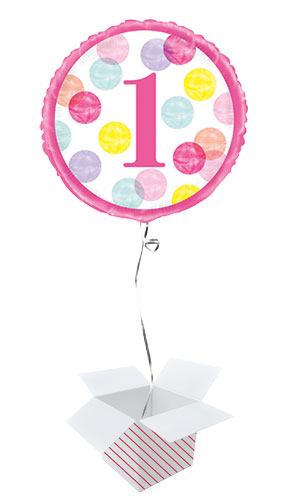 First Birthday Pink Dots Round Foil Helium Balloon - Inflated Balloon in a Box